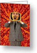 Shout Greeting Cards - TV Man Greeting Card by Garry Gay