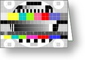 Multi-color Greeting Cards - TV multicolor signal test pattern Greeting Card by Aloysius Patrimonio