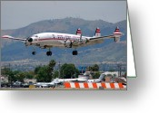 Airplane Greeting Cards - TWA Lockheed Super Constellation N6937C Greeting Card by Brian Lockett