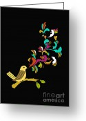 Illustration Digital Art Greeting Cards - Tweet tweet Greeting Card by Budi Satria Kwan