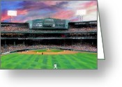 Red Pastels Greeting Cards - Twilight at Fenway Park Greeting Card by Jack Skinner