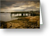 Cafe Greeting Cards - Twilight Cape Porpoise Maine Greeting Card by Bob Orsillo