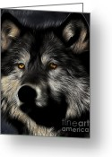 Wolves Mixed Media Greeting Cards - Twilight Eyes of The Lone Wolf Greeting Card by Wingsdomain Art and Photography