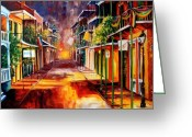 Street Scene Greeting Cards - Twilight in New Orleans Greeting Card by Diane Millsap