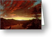 Canada Painting Greeting Cards - Twilight in the Wilderness Greeting Card by Frederic Edwin Church