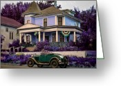 Purple House Greeting Cards - Twilight Greeting Card by Marcie Adams Eastmans Studio Photography
