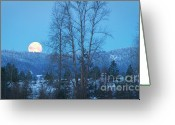 Moonrise Greeting Cards - Twilight Moon Greeting Card by Idaho Scenic Images Linda Lantzy