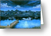 Realistic Pastels Greeting Cards - Twilight on Taylor Greeting Card by Tanja Ware