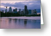 River Scenes Greeting Cards - Twilight On The Bow River And Calgary Greeting Card by Michael S. Lewis