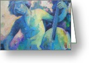 Music Notes Greeting Cards - Twilight Rhapsody - Lady Playing the Cello Greeting Card by Susanne Clark