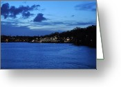 "\""boathouse Row\\\"" Greeting Cards - Twilight Row Greeting Card by Andrew Dinh"