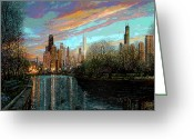 Chicago Skyline Greeting Cards - Twilight Serenity II Greeting Card by Doug Kreuger
