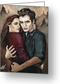 Vampire Painting Greeting Cards - Twilight Greeting Card by Tom Carlton
