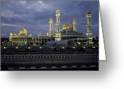 Minarets Greeting Cards - Twilight View Of An Illuminated Mosque Greeting Card by Paul Chesley