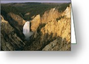 Lower Yellowstone Falls Greeting Cards - Twilight View Of Lower Yellowstone Greeting Card by Michael S. Lewis