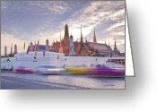 Siamese Photo Greeting Cards - twilight Wat pra kaew Grand palace at dusk in Bangkok Thailand Greeting Card by Assawin Chomjit