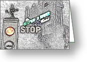 Travelpixpro Greeting Cards - Twilight Zone Tower of Terror Stop Sign Hollywood Studios Walt Disney World Prints Colored Pencil Greeting Card by Shawn OBrien