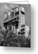 Travelpixpro Greeting Cards - Twilight Zone Tower of Terror Vertical Hollywood Studios Walt Disney World Prints BandW Poster Edges Greeting Card by Shawn OBrien