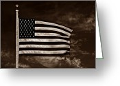 Stars And Stripes Mixed Media Greeting Cards - Twilights Last Gleaming S Greeting Card by David Dehner