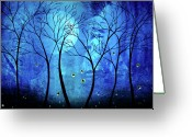 Bare Trees Painting Greeting Cards - Twilights Moon Greeting Card by Jaime Best