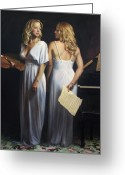 Classical Music Art Greeting Cards - Twin Arts Greeting Card by Anna Bain
