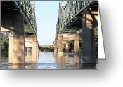 Flooding Greeting Cards - Twin Bridges Greeting Card by Elizabeth Winter