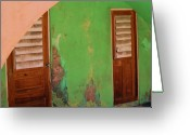 Peeling Paint Greeting Cards - Twin Doors Greeting Card by Debbi Granruth