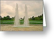 September 11 Greeting Cards - Twin Fountains - Garden of Reflection Greeting Card by Angie McKenzie
