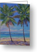 Bay Islands Painting Greeting Cards - Twin Palms Greeting Card by John Clark