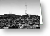 Hill Photographs Greeting Cards - Twin Peaks in San Francisco . Black and White Greeting Card by Wingsdomain Art and Photography