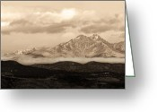 Meeker Greeting Cards - Twin Peaks Sepia Panorama Greeting Card by James Bo Insogna