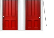 Hardware Greeting Cards - Twin Red Doors Greeting Card by Olivier Le Queinec