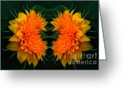 Teddybear Greeting Cards - Twin Teddybear Sunflowers Greeting Card by Marjorie Imbeau