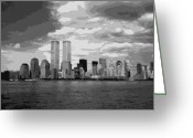 Twin Towers World Trade Center Greeting Cards - Twin Towers BW10 Greeting Card by Scott Kelley