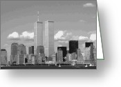 Twin Towers World Trade Center Greeting Cards - Twin Towers BW12 Greeting Card by Scott Kelley