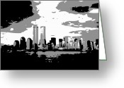 Twin Towers World Trade Center Greeting Cards - Twin Towers BW3 Greeting Card by Scott Kelley