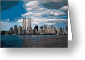 Twin Towers World Trade Center Greeting Cards - Twin Towers Color 16 Greeting Card by Scott Kelley