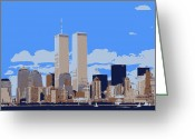 Twin Towers World Trade Center Greeting Cards - Twin Towers Color 6 Greeting Card by Scott Kelley