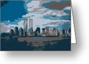 Twin Towers World Trade Center Greeting Cards - Twin Towers Color 7 Greeting Card by Scott Kelley