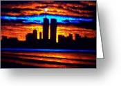 Skylines Painting Greeting Cards - Twin Towers In Black Light Greeting Card by Thomas Kolendra