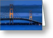 Dusk Greeting Cards - Twin Towers of Northern Michigan Greeting Card by Twenty Two North Gallery
