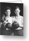 Relief Work Photo Greeting Cards - Twins In Boxing Gear Greeting Card by Harry Todd