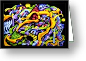 Color Reliefs Greeting Cards - Twisted Blackout Greeting Card by Jason Amatangelo