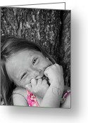 Selective Color Greeting Cards - Twisted Expression Greeting Card by Aimelle