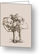 Whimsical Drawings Greeting Cards - Twisted Greeting Card by Philip and Monica Straub