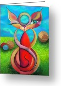 Whimsical Pastels Greeting Cards - Twisty-Kitty Greeting Card by Tracey Levine
