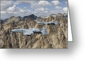 Mountain Peaks Greeting Cards - Two A-10 Thunderbolts Fly Greeting Card by HIGH-G Productions