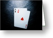 Leisure Activity Greeting Cards - Two Aces Playing Cards On Stainless Steel. Greeting Card by Ballyscanlon