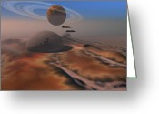 Art Of Building Digital Art Greeting Cards - Two Aircraft Fly Over Domes Greeting Card by Corey Ford
