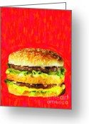 Ronald Greeting Cards - Two All Beef Patties Greeting Card by Wingsdomain Art and Photography